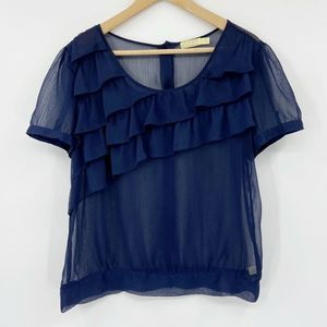 Pins & Needles Urban Outfitters Ruffle Top Navy L